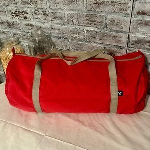 American Eagle red duffle bag